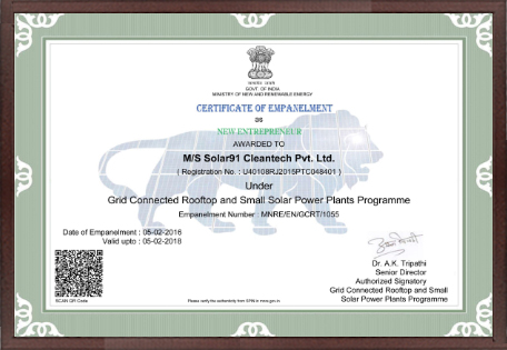 Certificate Under Grid Connected Rooftop and Small Solar Power Plants Program